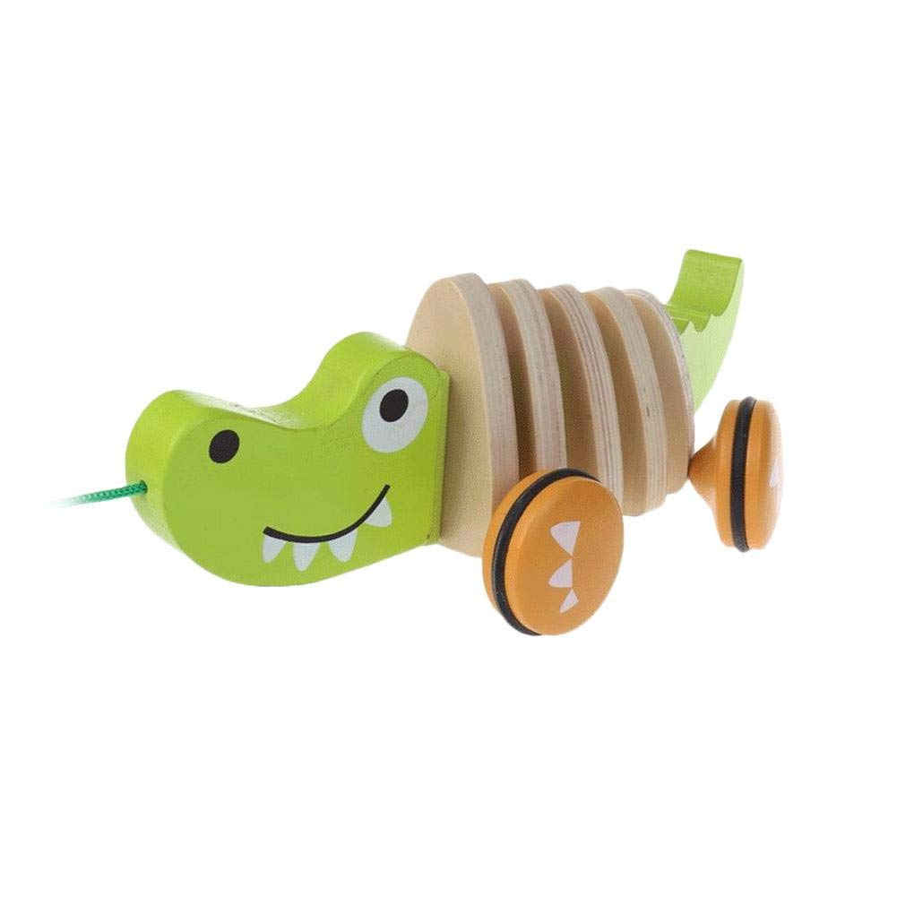 G-wukeer Wooden Pull Toy Wooden Cute Cartoon Animal Shape Pull toy Childrens Toy Car for Early Education Puzzle Tractor