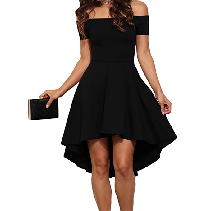 3f4f59abeda9 Eiffel Women s Off Shoulder High Low Hem A-line Evening Party Skater Dress  Black