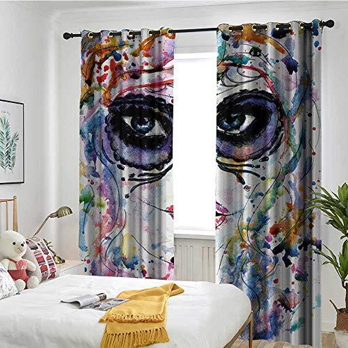TRTK Window Curtains Curtain Living Room Sugar Skull,Halloween Girl with Sugar Skull Makeup Watercolor Painting Style Creepy -