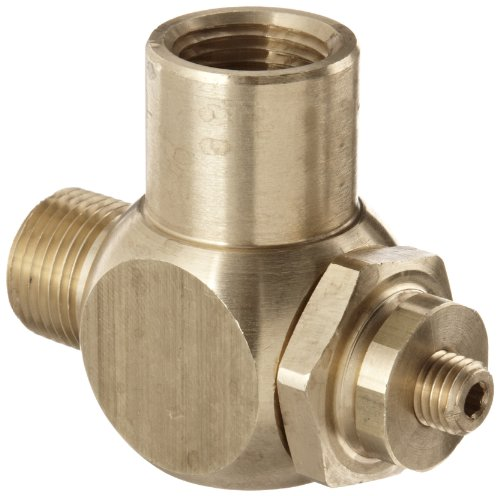 Parker 032510375 3251 Series Brass Right Angle Flow Control Valves, 3/8