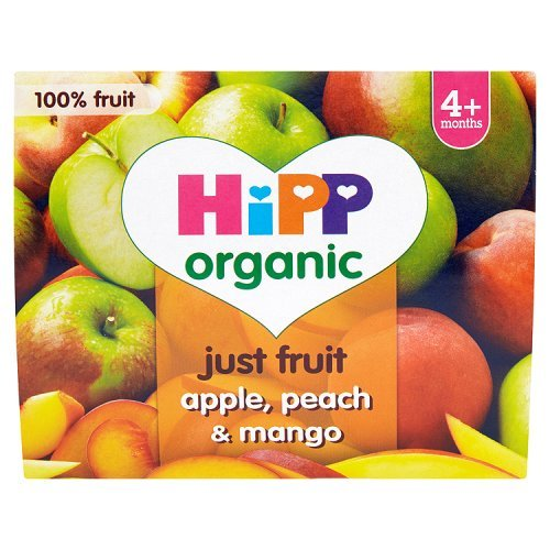 HiPP Organic From 4+ Purely Fruits Apple, Peach and Mango 4 x 100 g (Pack of 6, Total 24 Pots) GB5805.64