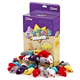 Chiwava 36PCS 4.1'' Furry Cat Toy Mice Rattle Small Mouse Kitten Interactive Play Assorted Color