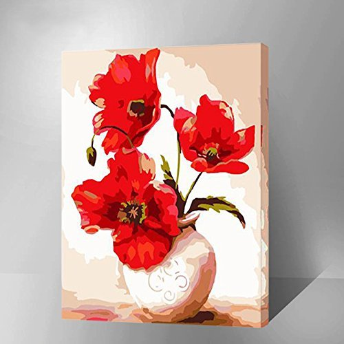 Vases Framed Canvas ([Wooden Framed] Diy Oil Painting Paint by Number Kit for Adults Kids-3 Flowers Vases 12x16 Inch)