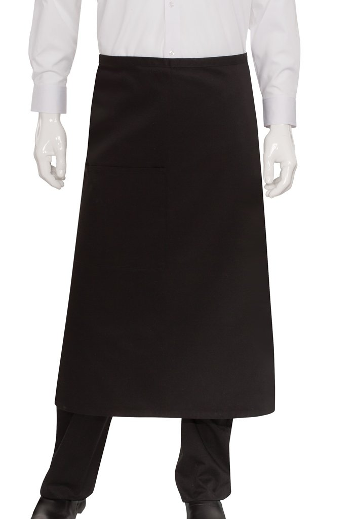 Chef Works Mens Bistro Apron, Black, 32-Inch Length by 30-Inch Width