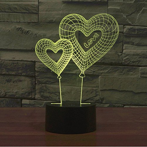 3D Illusion Lamp Gawell Night Light Heart-shaped Balloon 7 Changing Colors Touch USB Table Nice Gift Toys - Award Acrylic Shape