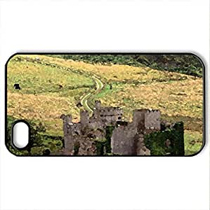 clifden castle county galway ireland - Case Cover for iPhone 4 and 4s (Medieval Series, Watercolor style, Black)