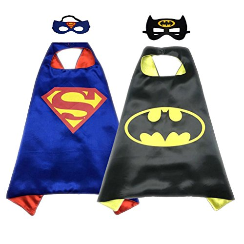 Superhero Costume Super Hero Cape And Mask Dress Up 2 Set For Kids (Superman-Batman)