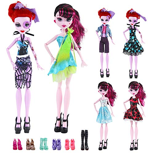 UCanaan 6 Sets Fashion Casual Lovely Clothes Dress Outfits 6 Pair of Shoes 1 Doll Stand and 1 Comb 1 Camera for Monster High Dolls -