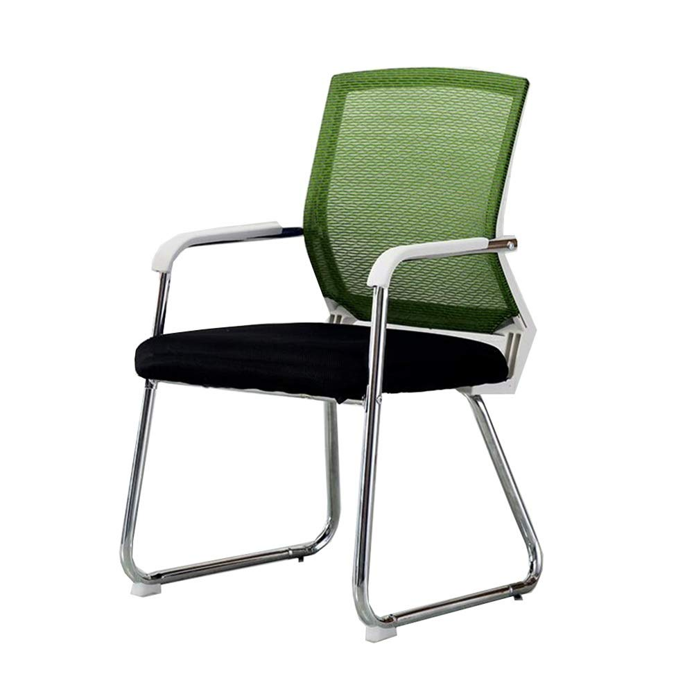 GREEN White frame Dall Office Chair Mesh Back Handrail Home Decoration Computer Chair Company Meeting Room Dormitory (color   Black, Size   White Frame)