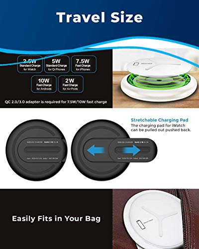 Sohnne Qi Wireless Charging Pad | 10W Max Fast Charging | MFi-Certified | Station Dock Compatible Android, Apple iPhone 8/X/XS/XR/11Pro | Watch Series 2/3/4/5 | AirPods - White (QC 3 Adapter Included)