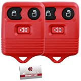 2 KeylessOption Red Replacement 3 Button Keyless Entry Remote Control Key Fob Clicker