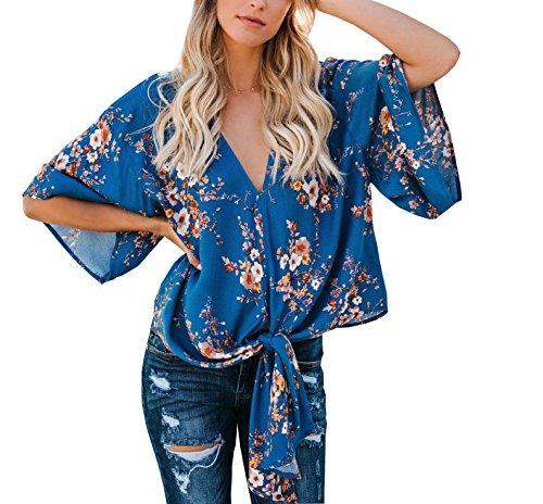 Soie en Shirt Femme Haut de Blouse Mousseline Chemisier t Top Florale Col Bleu V q847SIw8