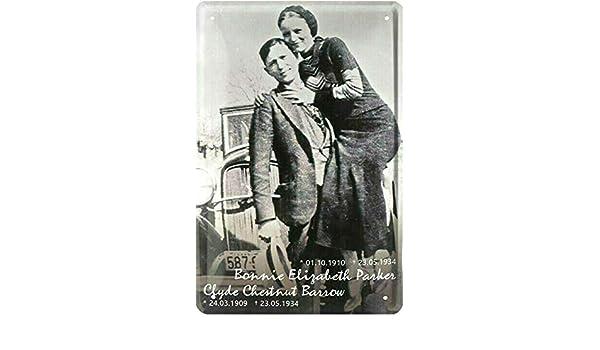 Cartel de chapa 20 x 30 cm Bonnie + Clyde USA Gangster par ...