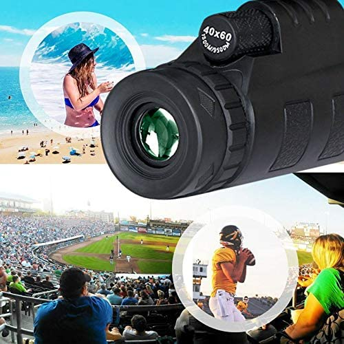 KHKJ Lens for Phone 40X60 Zoom for Smartphone Monocular Telescope Scope Camera Camping Hiking Fishing with Compass Phone Clip Tripod