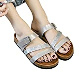 vermers Hot Sale Womens Beach Sandals - Cross Toe Strap Flat Shoes Thick-Soled Cork Sequin Slippers(US:9, Silver)