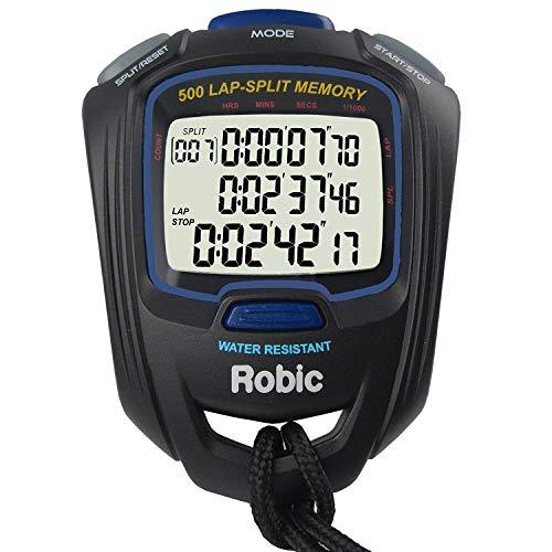 Robic SC-757W 500 Dual Memory Stopwatch, Black/Blue ()