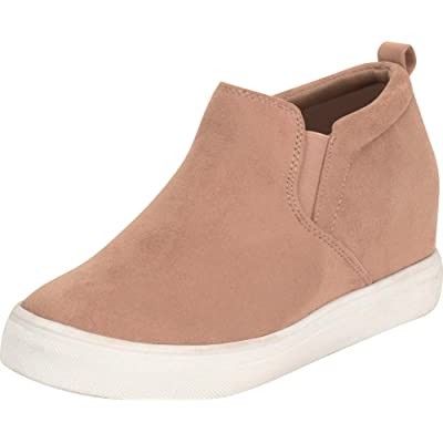Cambridge Select Women's Stretch Slip-On Chunky Platform Low Hidden Wedge Fashion Sneaker | Fashion Sneakers