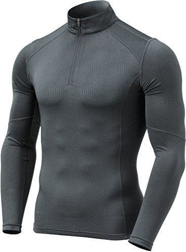 Half Zip Thermal (TM-YUZ47-ZCH_Medium Tesla Men's Emboss 1/4 Zip Sweatshirt Thermal Wintergear Fleece Lining YUZ47)