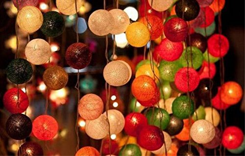 Mode 1, 3M (20leds) : 3M Led Cotton Ball Lights Macaron String Lights Battery Powered Fairy Lamp Thai Garden Party Wedding Home Decor Holiday Lighting by Generic