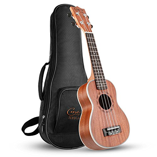 Hricane Ukulele Soprano 21inch Professional Ukeleles For Beginners Sapele Hawaiian Ukele UKS-1 Bundle with Gig Bag]()