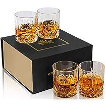 KANARS WhiskeyGlasses - Set of 4 - Old Fashioned Cocktail Glass - Premium 10 Oz Crystal Tasting Tumblers for Scotch, Whisky, Bourbon - Unique Elegant Gift Box for Wedding or Birthday