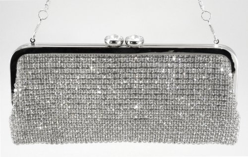 Dazzling Crystals Rhinestones Soft Clutch Evening Bag Baguette Handbag Purse with Detachable Chain style# E2AC, Bags Central
