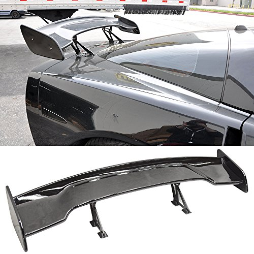57 Inch GT Wing Spoiler Adjustable ABS Glossy Black Rear Trunk Spoiler Wing By IKON MOTORSPORTS