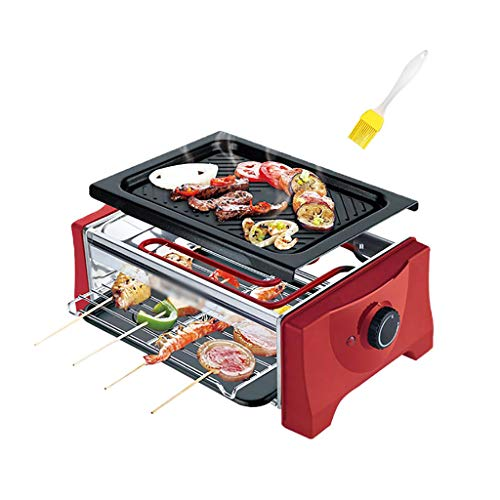 3-Serving Electric Indoor Grill, Ideal for Parties and Family Fun, Detachable Cleaning, Stepless Temperature Adjustment, 900W