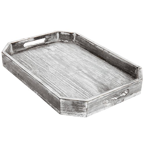 MyGift Country Rustic Wood Serving Tray with Cutout Handles and Angled Edges by MyGift (Image #4)