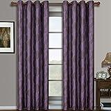 Savanna Purple Grommet Jacquard Window Curtain Panels, Pair / Set of 2 Panels, 52x84 inches Each, by Royal Hotel