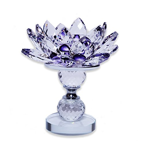 LK-CRAFTS Crystal Lotus Tealight Holder With Stand and Gift Box - PURPLE