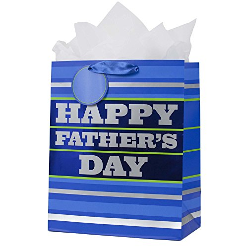 Day Gift Wrap - Hallmark Large Father's Day Gift Bag with Tissue Paper (Blue Stripes)