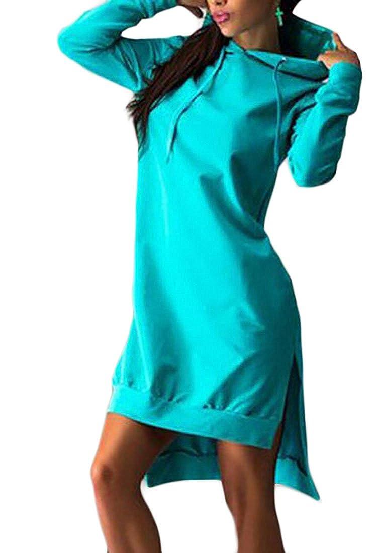 OTW-Women Solid Loose High Low Hem Mid Length Hoodies Sweatshirts
