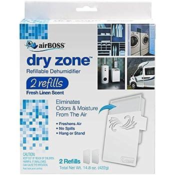 airBOSS Dry Zone Refillable Dehumidifier, Fresh Linen Scent - 2 Refills (4)