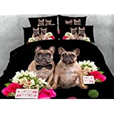 Newrara 3d Digital Bedding 3D Pug Dog Couple and Pink Rose Printed 4 Piece Black Duvet Cover Sets (Queen, Black)