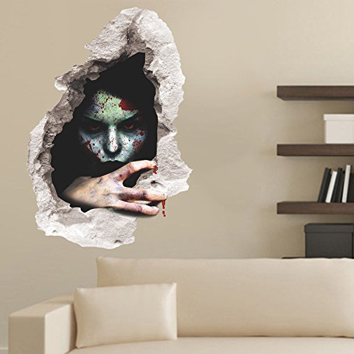 [DASARA Halloween 3D Horror Ghost Wall Stickers Removable Scary Wall Decals Home Decor(3#)] (Best Costume Award Printable)