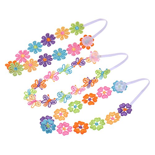 3 Pcs Children Flower Headband Colorful Princess,ZQUS,Head Bands For Baby Girls,Hairbands Hair Accessories