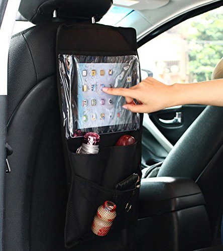 AICase Back Seat Car Organizer with Storage Organizer Pockets, Built-in iPad/Tablet Holder Cargo Storage for Baby Stroller & Kid Travel Accessories (Standard, Black)