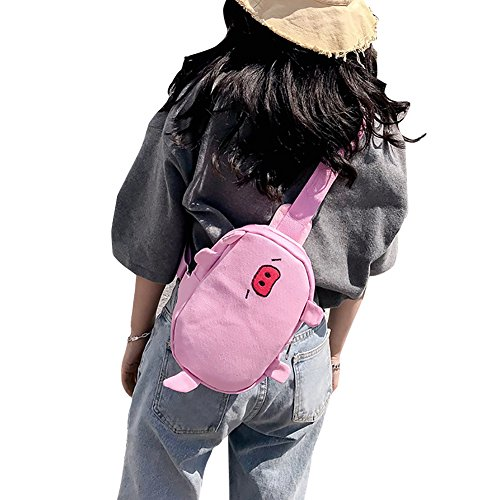 Bag Fashion Fabric Beige Pink CricTeQleap Handbag Non Pattern Cartoon Crossbody Women woven Pig Pouch AqUzt6