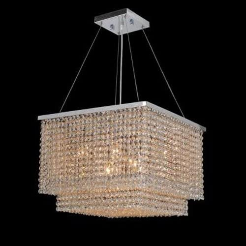 7PM Modern Square Island Crystal Chandelier Pendant Lamp Light Fixture 8 Lights Required