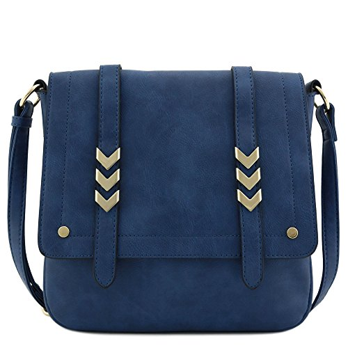 (Double Compartment Large Flapover Crossbody Bag (Navy Blue))