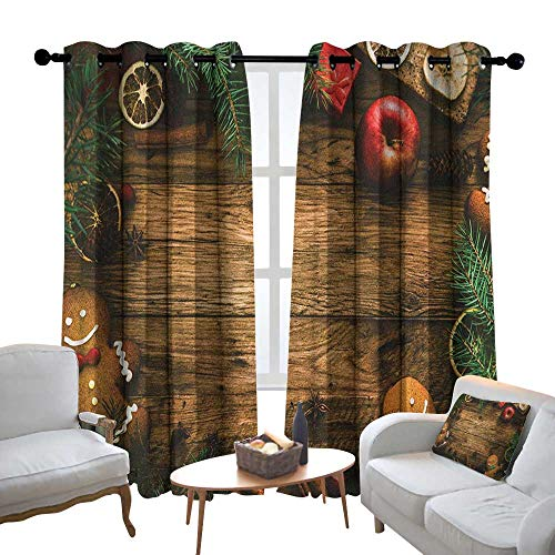 (Lewis Coleridge Customized Curtains Christmas,Gingerbread Man Gift Box Coniferous Pine Cinnamon Dessert on Rustic Wood Theme, Brown Green,Blackout Draperies for Bedroom Living Room 120
