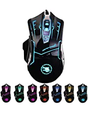 RGB Light up Wired Computer Mouse - Durable USB Led Laptop Mice w/ 7 Color Backlit, 4 Adjust DPI Up to 3200 for Gaming, Silent & Stable Rainbow PC Corded Mouse for Mac MacBook Windows Vista Linux PS4