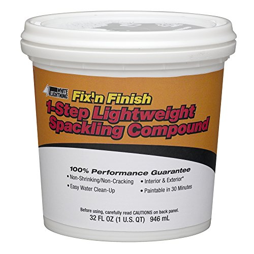 (White Lightning WL60520 One Step Lightweight Spackling Compound, White, 1 Quart)