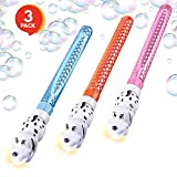 ArtCreativity Light-up Dalmatian Bubbles Tube Set Kids | 11 Built-in Toy Projector (Set of 3 Colors Red, Blue & Pink) | Fluid Batteries Included | Bubble Wand | Great Gift/ Party Favor