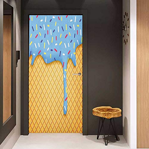 Onefzc Front Door Sticker Ice Cream Waffle Background with Sky Blue Flavor Yummy Sweet Summer Seasonal Artful Design for Home Decor W23.6 x H78.7 Apricot
