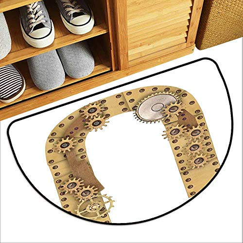 DILITECK Bedroom Doormat Letter U Dieselpunk Fantasy Mechanism with Plates U Font Structure Gearwheel Theme Print Country Home Decor W36 xL24 Sand Brown