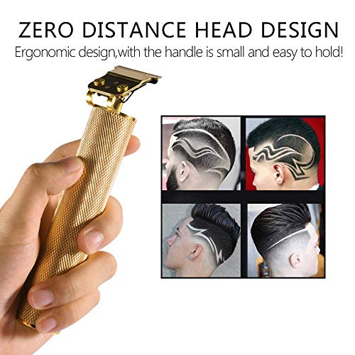 Hair Clippers for Men, Beard Trimmer Cordless Rechargeable Grooming Hair Cutting Kits T-Blade Ceramic Blade Shaver with 3 Guide Combs Cutting Kits for Family Use Home Daily Use Barbers-Gold