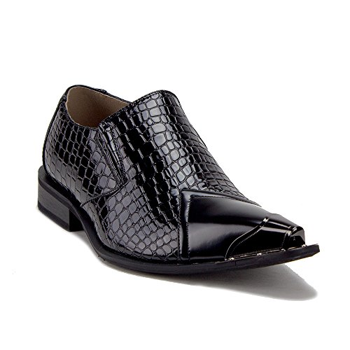 Jazame Men's Urban 26926 Metal Tip Faux Snake Skin Pointed Loafers Dress Shoes, Black, 9.5