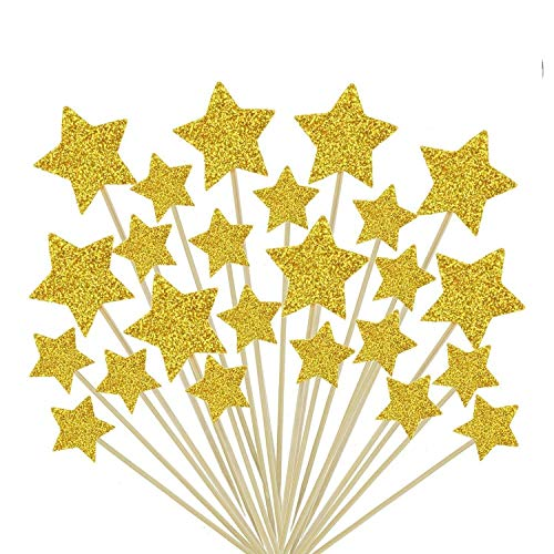 Glorious Year Gold Star Cake Toppers Kids Birthday Party Baby Shower Cupcake Decorations 36pcs